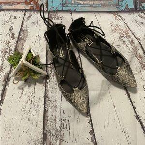 TopShop Snakeskin lace up ballet flats, size 8